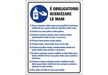 Adesivo istruzioni obbligatorio igienizzare le mani